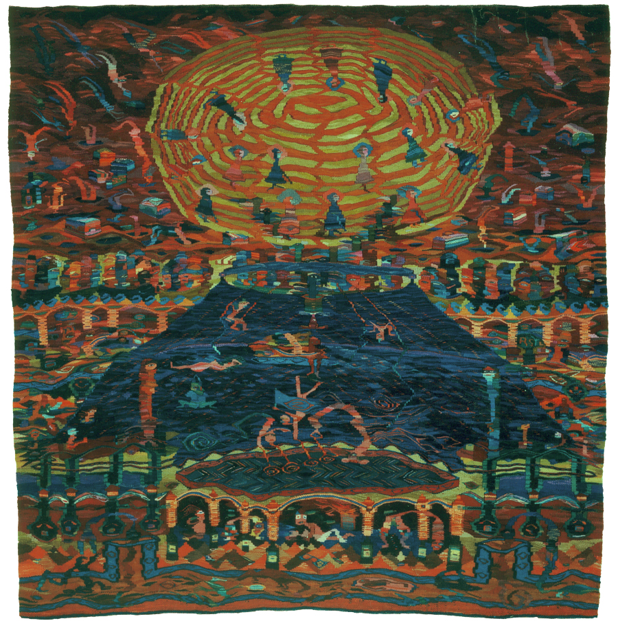 """""""Die Nichtseßhafte Gesellschaft"""", 1994, Wolle auf Hanf, 230 x 210 cm,   Foto: Heinrich Hermes"""