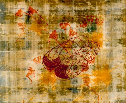Ohne Titel, 1996, Linolschnitt, Kasein auf Papier, 70 x 80 cm