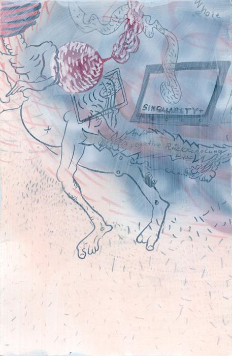Rückkopplung, 2020, Mischtechnik auf Papier, 24,5 cm x 16cm