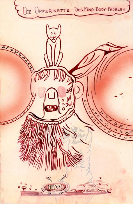 Die Opferkette des Mind-Body-Problem, 2021, Mischtechnik auf Papier, 24,5 cm x 16cm