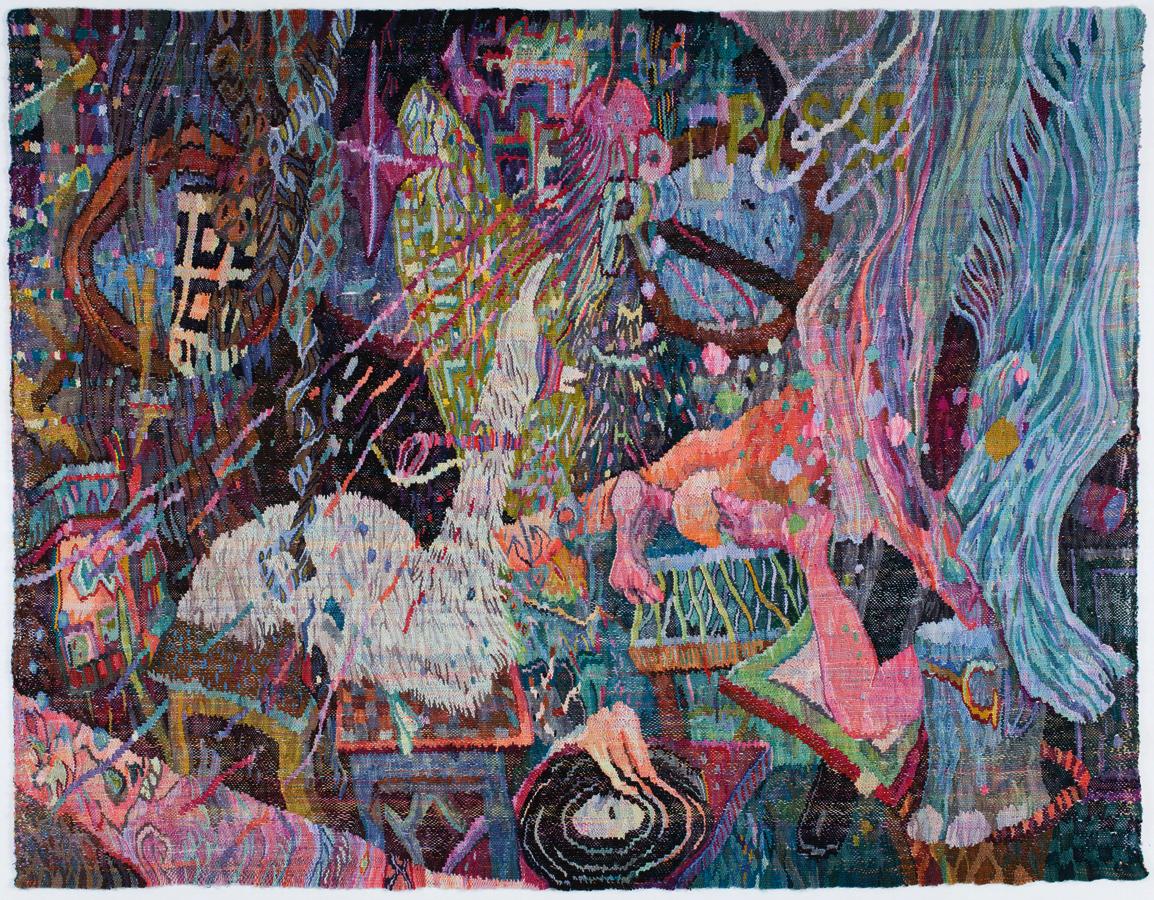 Die Slowmotionbar im Zwischendeck, 2014, Wolle auf Wolle, 200 x 264 cm, Foto: Jürgen Köhler
