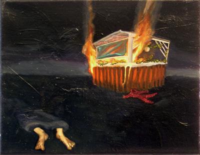 Lackbild I, 2005, Öl, Lack auf Leinwand, 26cm x 31cm