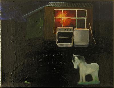 Lackbild IV, 2005, Öl, Lack auf Leinwand, 26cm x 31cm