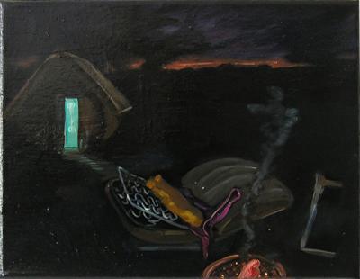 Lackbild V, 2005, Öl, Lack auf Leinwand, 26cm x 31cm