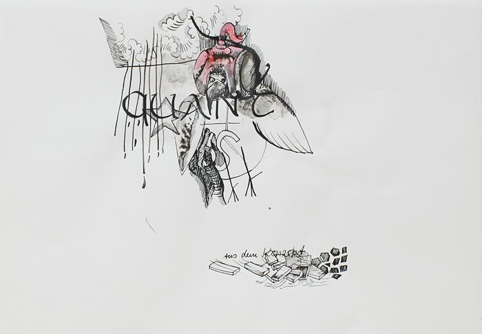 O.T., Tusche auf Papier, 42 cm x 29 cm, 2014