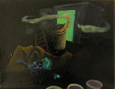 Romantische Alternative II, 2005, Öl, Lack auf Leinwand, 26cm x 31cm