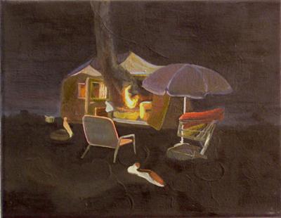 Romantische Alternative III, 2005, Öl, Lack auf Leinwand, 26cm x 31cm